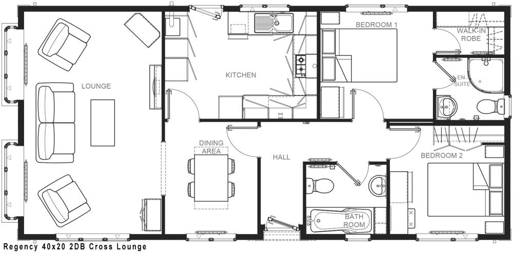 Regency 40x20 2DB Cross Lounge